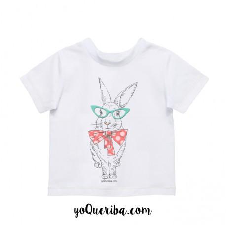 """Camiseta bebé y niños """"Conejita blanca lazo lunares"""""""