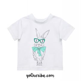 """Camiseta bebés y niños """"Nico, el conejito hipster"""""""