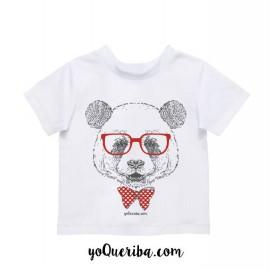 """Camiseta bebé y niños """"Hugo el panda hipster"""""""