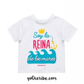 """Camiseta bebé y niñas """"Soy la Reina de los mares"""""""