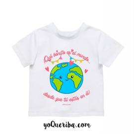 """Camiseta bebé y niñas """"Qué bonito es el mundo..."""""""