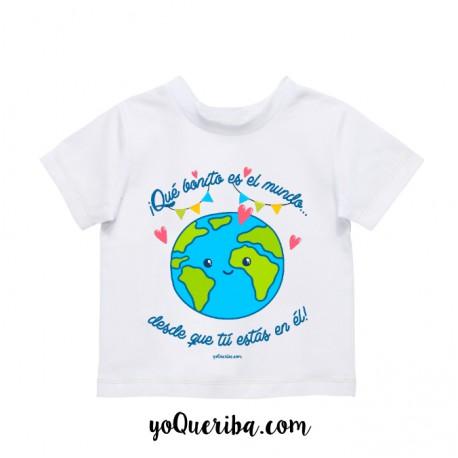 """Camiseta bebé y niños """"Qué bonito es el mundo..."""""""