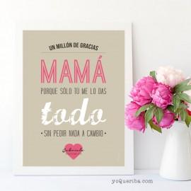 """Lámina """"Un millón de gracias mamá"""""""
