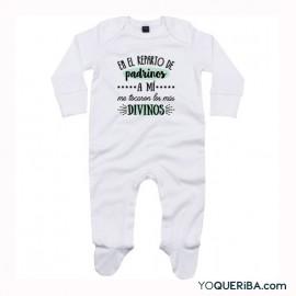 """Pijama para bebé  """"Padrino, madrina o padrinos los más divinos""""."""