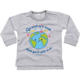 """Sudadera niño """"Qué bonito es el mundo desde que tú estás en él"""""""