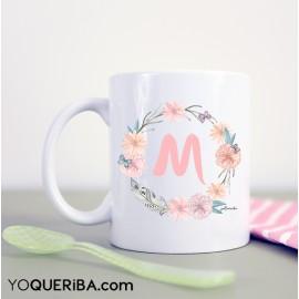 """Taza personalizada """"Flores y Plumas"""""""