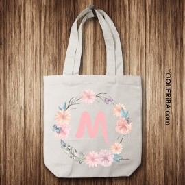 "Tote Bag personalizada ""Flores y Plumas"""