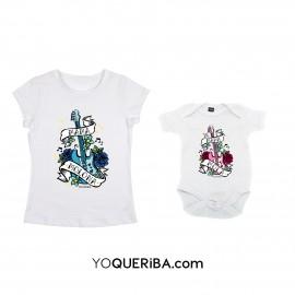 """Pack camiseta mujer y body bebé  """"La mamá más molona"""""""