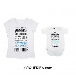 """Pack camiseta mamá y body bebé """"Príncipe y princesa"""""""