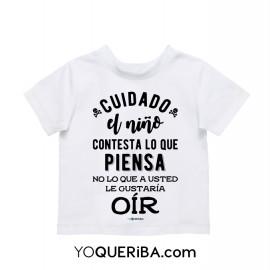 """Camiseta para niños  """"Cuidado con el niño"""""""