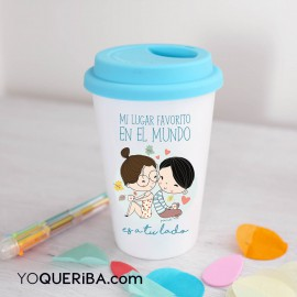 "Taza Take away personalizada ""A tu lado"""