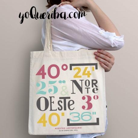 """Tote bag personalizado """"Coordenadas"""""""