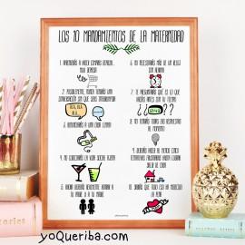 """Lámina """"Los 10 mandamientos de la maternidad"""""""