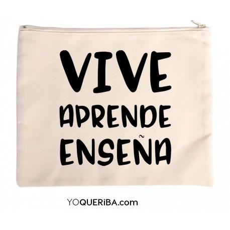 """Bolso de mano personalizado """"Vive, aprende, Enseña"""""""