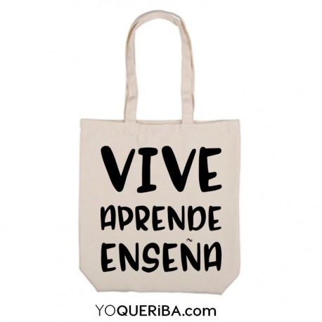 """Tote bag """"Vive, aprende, enseña"""""""