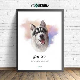Lámina personalizada watercolor mi perro, mi amigo