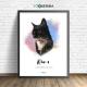Lámina personalizada watercolor mi gato, mi amigo