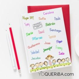Cuaderno con los nombres de los niños