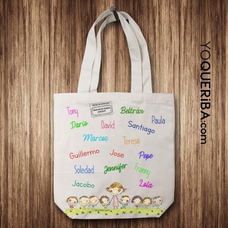 Tote bag personalizado con los nombres de los niños