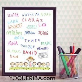 Lámina personalizada con las firmas de los niños