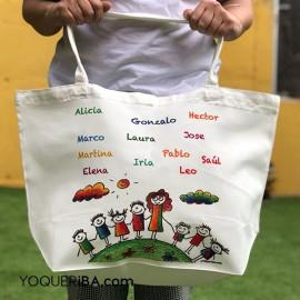 Bolsa de playa con los nombres de los niños
