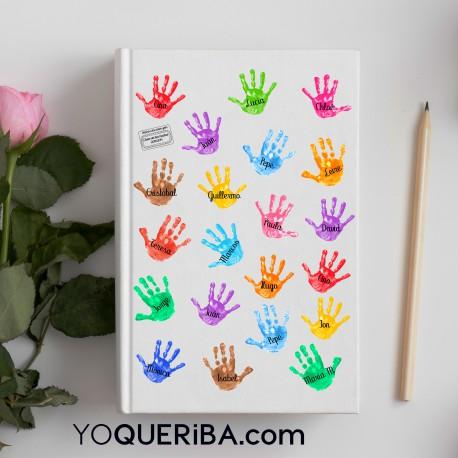 Cuaderno personalizado con manitas