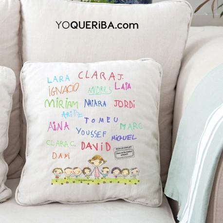 Cojín personalizado con las firmas de los niños