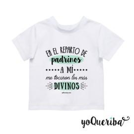 """Camiseta bebé """"Padrino, madrina o padrinos los más divinos"""""""